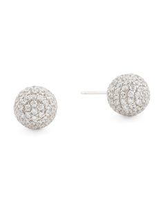 Made In Italy Sterling Silver Crystal Ball Stud Earrings