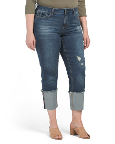 Plus High Waisted Wide Cuff Crop Jeans