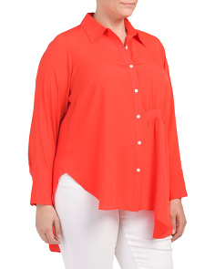 Plus High Low Boyfriend Blouse