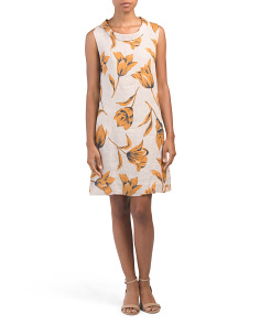 Made In Italy Tulip Print Linen Dress