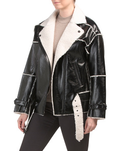 Shiny Jacket With Faux Shearling Trim