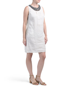 Made In Italy Embellished Neck Linen Dress