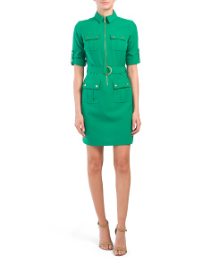 Petite Cargo Half Zip Front Dress