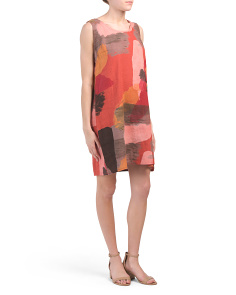 Made In Italy Graphic Print Linen Dress