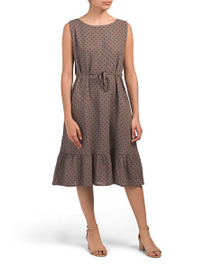Made In Italy Polka Dot Ruffle Hem Linen Dress