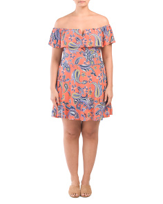 Plus Juniors Scarf Print Skater Dress