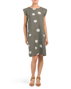 Made In Italy Linen Blend Polka Dot Print Dress