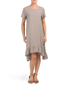 Made In Italy Asymmetric Ruffle Hem Linen Dress
