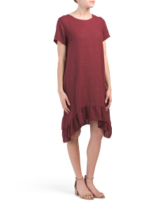 Made In Italy Linen Asymmetrical Ruffle Dress