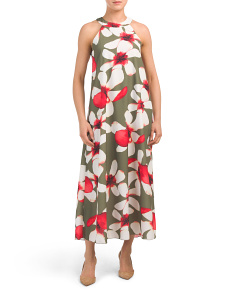 Made In Italy Orchid Print Halter Maxi Dress
