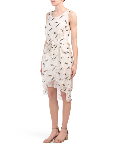 Made In Italy Toucan Silk Blend Midi Dress