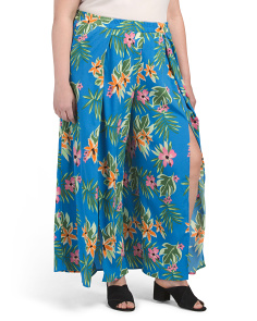 Plus Juniors Floral Split Seam Pants