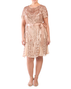 Plus Embroidered Sequins Short Dress