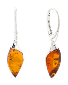 Made In Poland Sterling Silver Baltic Amber Earrings