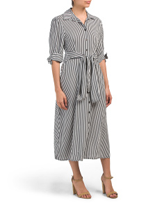 Made In Italy Stripe Midi Dress