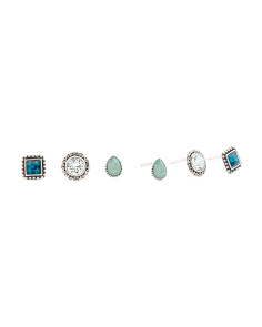 Set Of 3 Sterling Silver Swarovski Mix And Match Earrings