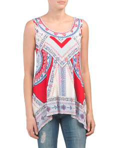 Sleeveless Patterned Handkerchief Hem Top