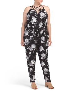 Plus Juniors Caged Floral Jumpsuit
