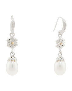 Sterling Silver And 18k Gold Pearl Drop Earrings