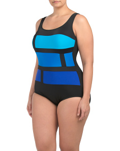 Plus Color Block One-piece Swimsuit