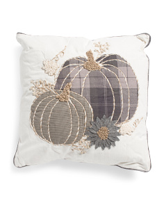 20x20 Plaid 2 Pumpkin Sunflower Pillow