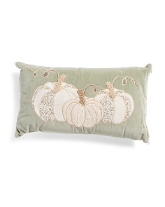 14x24 Velvet Embroidered Pumpkin Pillow
