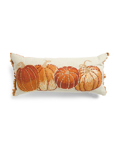 14x30 Embroidered And Beaded Pumpkin Pillow