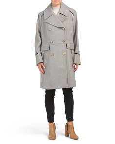 Petite Military Wool Blend Coat