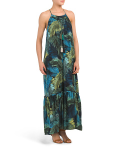 Long Printed Midi Dress With Flounce Hem