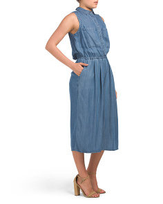 Cropped Sleeveless Chambray Jumpsuit