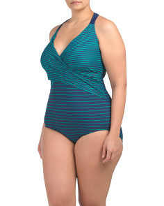 Plus One Piece Halter Striped Swimsuit