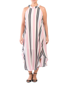 Plus Juniors Crepe Striped Sleeveless Maxi Dress
