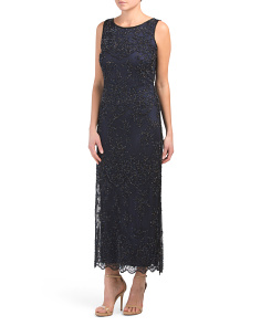 Petite All Over Beaded Sleeveless Gown