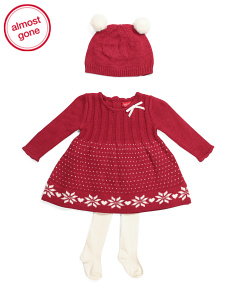 Newborn Girls Snowflake Sweater Dress With Hat & Tights