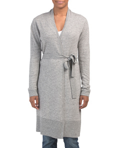 Cashmere Drape Neck Striped Robe