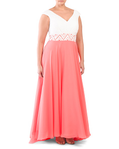 Plus Sleeveless Dress With Lace Bodice