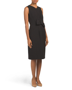 Petite Crepe Sleeveless Pinstripe Dress