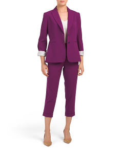 Petite Two Button Jacket Pantsuit