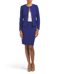 Petite Crepe Skirt Suit With Peplum Jacket
