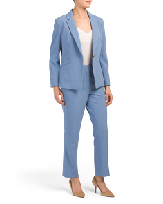 Petite Pebble Crepe One Button Pantsuit