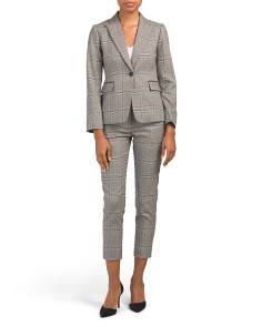 Petite Plaid One Button Pant Suit