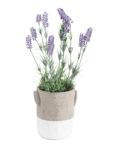 Faux Lavender In Large Cement Weave Pot