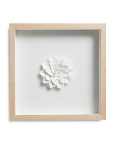 Ceramic Flower With Wood Frame