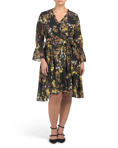 Plus Printed Chiffon Wrap Style Dress