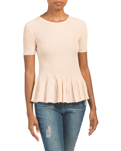 Knox Ribbed Top With Peplum Hem