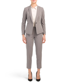 Petite Pinstripe One Button Pantsuit
