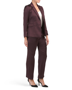 Petite 2pc Satin Notch Collar Double Breasted Pantsuit