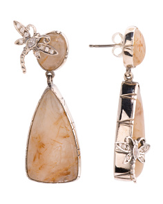 Handmade In Portugal Sterling Silver Quartz And Cz Earrings