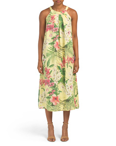 Made In Italy Linen Floral Halter Dress