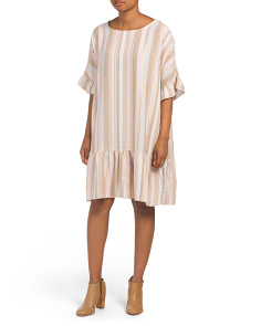 Made In Italy Linen Blend Striped Dress